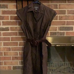 Sleeves dress with brown belt